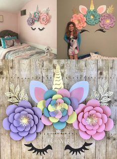 Unicorn Bedroom Decor, Unicorn Rooms, Unicorn Birthday Decorations, Unicorn Birthday Parties, Girl Bedroom Designs, Girls Bedroom, Bedroom Ideas, Bedrooms, Teen Girl Crafts