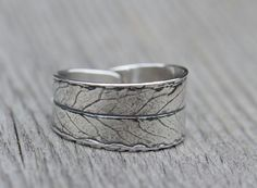 Metal clay willow leaf ring.