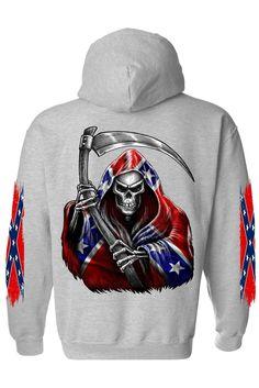 Men's/Unisex Zip-Up Hoodie Rebel Flag Grim Reaper Pullover Hoodie, Sweater Hoodie, Rebel Flag Tattoos, Redneck Clothes, Camo Boots, Skull Hoodie, Cute Shirts, Funny Shirts