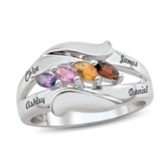 Zales Mothers Birthstone Split Shank Bypass Ring in Sterling Silver (3-7 Stones)