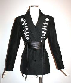 JEAN PAUL GAULTIER Vintage Blazer Cut Out Lace Up Corset Jacket - Authentic -