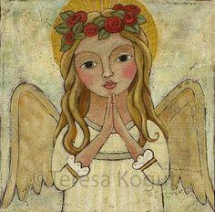Wall art Wall Decor Original art angel painting by teresakogut Catholic Art, Religious Art, Angel Artwork, Angel Drawing, Angel Warrior, Ceramic Angels, Angel Crafts, Naive Art, Op Art