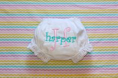 Monogrammed Infant Diaper Cover Bloomers - Newborn - Baby Girl - Gift - Personalized on Etsy, $11.00