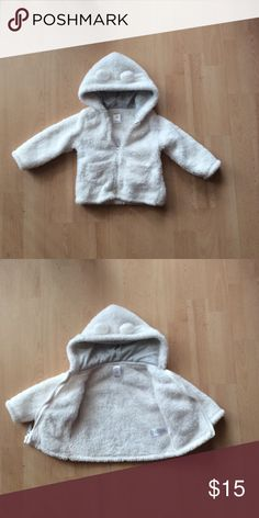 White Jacket Carters baby girl white furry hooded jacket with 2 pockets, ears on the hood, zipper closure. Worn a couple of times. Excellent condition Carter's Jackets & Coats