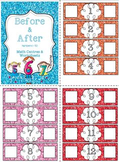 Before and After Numbers 1 - Math center and Interactive worksheets! Kindergarten Art Activities, Literacy And Numeracy, Kindergarten Activities, Teaching Math, Math Centers, Preschool, Daily 3 Math, Early Years Maths, Primary Maths