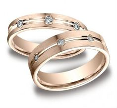 14k Rose Gold His And Hers Diamond Wedding Set