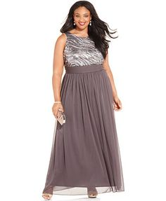 Betsy & Adam Plus Size Sequin Chiffon Gown