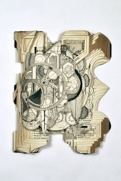 """The Book Surgeon"" Re-Purposes Old Books Into Amazing Sculptures http://www.randomzebra.com/the-book-surgeon-re-purposes-old-books-amazing-sculptures/  #books #art #sculpture"