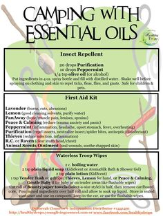 Young Living Essential Oils: Bugs Camp Camping First Aid Kit Insects Repellant Doterra Oils, Doterra Essential Oils, Essential Oil Blends, Young Living Oils, Young Living Essential Oils, Living Essentials, Camping Essentials, Camping Gear, Camping Checklist