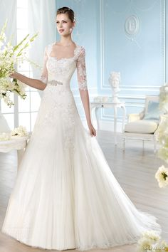 st patrick wedding dresses 2014 hali gown three quarter illusion sleeves weddingbrand.com