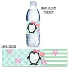 winter wonderland party, snowflake party, drink wraps, water bottle labels via Party Box Design, Penguin Party