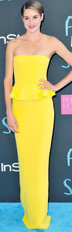 Who made Shailene Woodley's yellow strapless gown and jewelry?