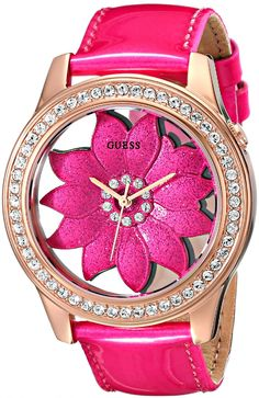 GUESS Women's Pink Floral Watch with Rose Gold-Tone Case & Genuine Patent Leather Strap