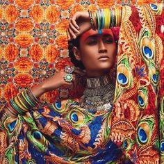 Vibrant oriental bridal fashion photography by Anushka Menon Foto Fashion, Fashion Art, Editorial Fashion, Fashion Cover, Fashion Pics, Costume Africain, Indian Bridal Fashion, Exotic Beauties, Models