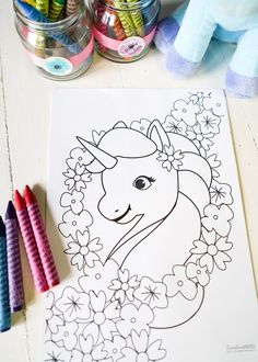 Unicorn coloring page from a Pastel Unicorn Birthday Party on Kara's Party Ideas | KarasPartyIdeas.com (15)