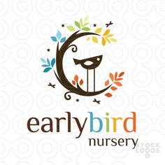 Logo Sold simple and stylized tree branch that resembles a moon shape. A cute stylized bird perch on the moon tree branch. bright colourful leaves create a canopy around the design.