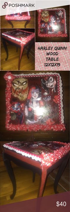 Harley Quinn solid wood table Refinished to like new condition Accessories