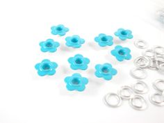 3/16 Eyelets turquoise Daisy for scrapbooking,craft,sewing project and much more-50 pc