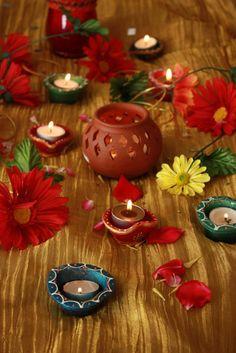 Diwali Diyas with flowers