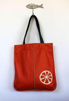 Leather tote bag with orange applique by HandMadeByKonovalovy, $115.00