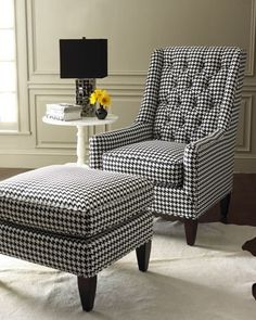 black and white chair and ottoman. Chair And Ottoman, Upholstered Chairs, Take A Seat, Home Decor Accessories, Cheap Home Decor, Home Remodeling, Room Decor, Interior Design, Home Design
