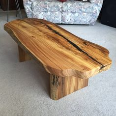 Unique Live Edge Coffee Table with live edge wood slab legs. There are Beautiful…