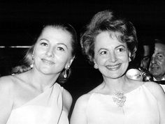 Sisters Joan Fontaine and Olivia De Havilland arrive at a party celebrating the opening of Marlene Dietrich's one-woman show on Broadway. October, 1967