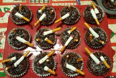 Ashtray cupcakes  white trash party Chocolate cupcakes Pretzel cigarettes