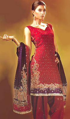 Anarkali: Red Crinkle Chiffon Dress