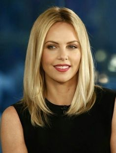 Charlize Theron long blonde lob