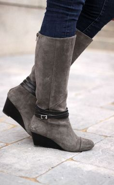 """Grey Wedge Boots. That wedge would add a little height to my 5'1"""" self but not to much."""