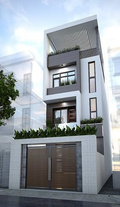 Street & house (Mr Hien) Quang Ninh Date Design: Townhouse Designs, Duplex House Design, House Front Design, Small House Design, Modern House Design, Building Design, Building A House, Narrow House Designs, Casas Containers