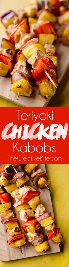 Teriyaki Chicken Kabobs are a healthy low-carb dinner bu rsting with flavor. These easy kabobs are prepared on the grill or in the oven and are loaded with lean chicken, bell peppers, onions and juicy pineapple for a balanced meal.