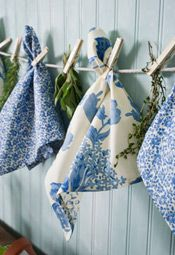 blue and white clothesline for linens