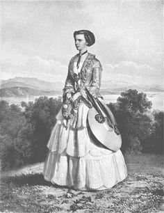 "Print by Eduard Kaiser in 1853 of Austrian Empress Elisabeth ""Sissi"" (Elisabeth Amalie Eugenie) (24 Dec 1837-10 Sep 1898) Bavaria. The print was issued after the engagement of Sissi to Emperor Franz Joseph I (18 Aug 1830-21 Nov 1916) Austria when she was age 16."
