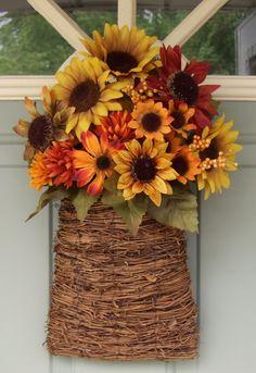 Sunflower Wreath - Fall Door Basket