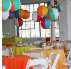 Beach Ball Birthday Party Ideas: love this beach ball chandelier!