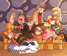 Gravity Falls,фэндомы,Dipper Pines,GF Персонажи,Mabel Pines,Stanford Pines,Stanley Pines,Soos Ramirez,Wendy Corduroy,Pacifica Northwest,Waddles,GF Арт,GF art