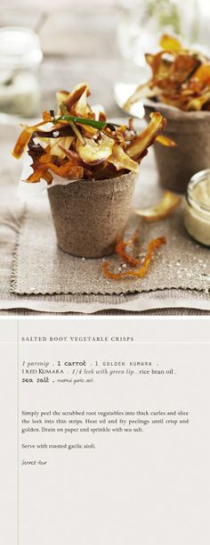 Salted root vegetable crisps. Style etc.: Lunch with Friends.
