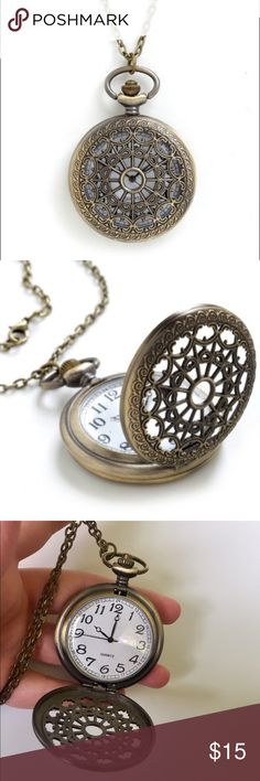 Modcloth Turn Back Time Necklace Beautiful pocket watch locket necklace - long length deep gold/bronze in color. Note, battery needs to be replaced. ModCloth Jewelry Necklaces
