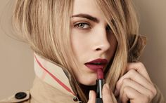 Cara Delevingne in the Burberry Beauty Lip Velvet campaign