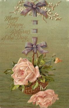 Vintage card with pink roses