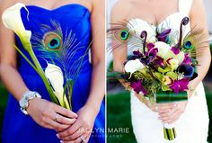 @Kelsi Cole -thought you'd like these!     peacock wedding bouquets