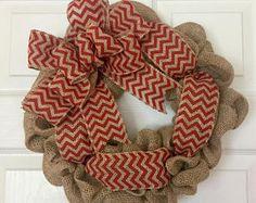 Burlap Wreath, Mini Burlap Wreath, Chevron Wreath, Chevron Door Hanger, Chevron Burlap Wreath, Red Wreath, Christmas Wreath, EveryDay Wreath