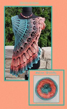 Spiderdream * De iets andere gehaakte tuniek * www. Spiderdream * De iets andere gehaakte tuniek * www. Crochet Tunic Pattern, Crochet Blouse, Crochet Shawl, Knit Patterns, Crochet Lace, Crochet Stitches, Crochet Summer Tops, Crochet Tops, Cute Crochet
