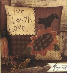 Free Primitive Folk Art Patterns | Primitive Folk Art Wool Applique Pattern: AUGUST - PATCHWORK PILLOW