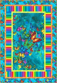 Isn't this colorful butterfly quilt so cool? Fabric Panel Quilts, Strip Quilts, Scrappy Quilts, Easy Quilts, Fabric Panels, Quilting Projects, Quilting Designs, Butterfly Quilt Pattern, Quilt Of Valor