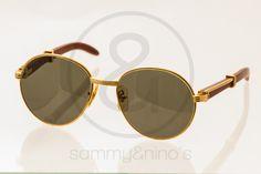 Image of Cartier Palissander wood gold 55-18:: Vintage Sunglasses