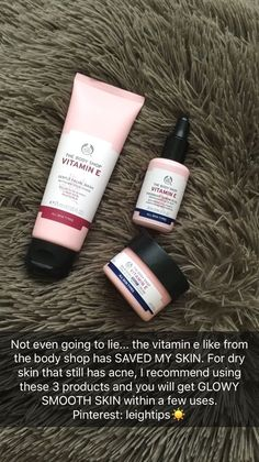 The Body Shop vitamin E range is super good for dry and scarred skin. Skin tips . The Body Shop vi The Body Shop, Beauty Care, Beauty Skin, Health And Beauty, Beauty Tips, Diy Beauty, Beauty Products, Products For Dry Skin, Body Shop Products