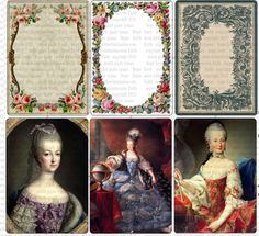 Marie Antoinette and Vintage Floral Frames by With Wild Abandon, vintage frames, digital collage, Marie Antoinette, ACEO, vintage collage, collage sheet, handmade, instant download, Paris, Gift tags, Scrapbook tags, ephemera, paris art, floral frames, printable digital collage sheet, atc, 2.5x3.5
